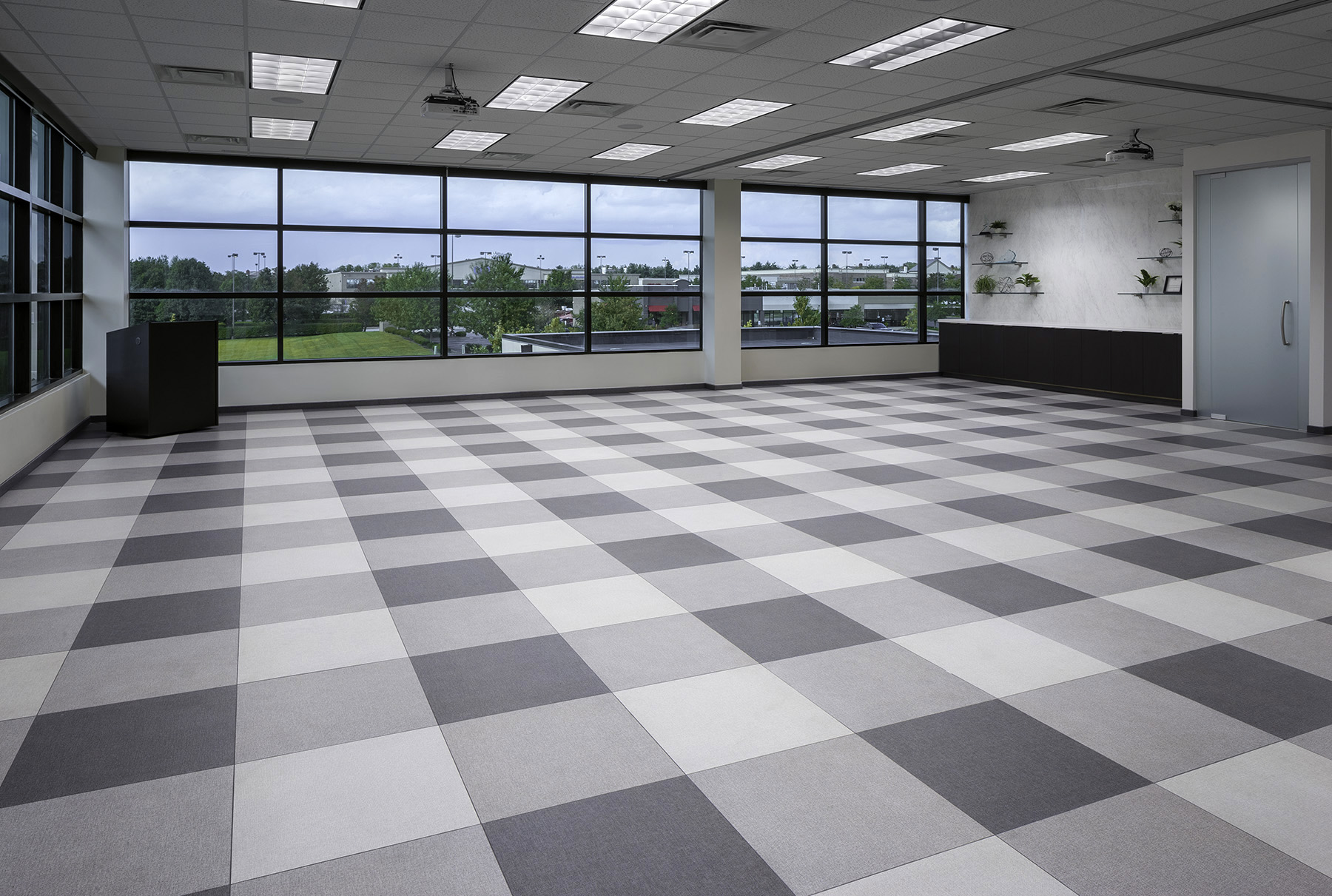 training room with patterned tile installation