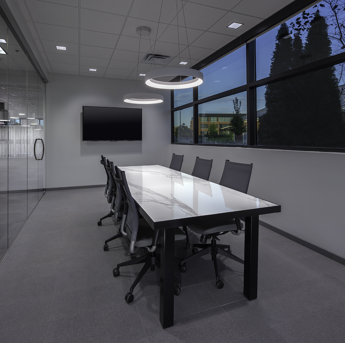 meeting room with tile topped table