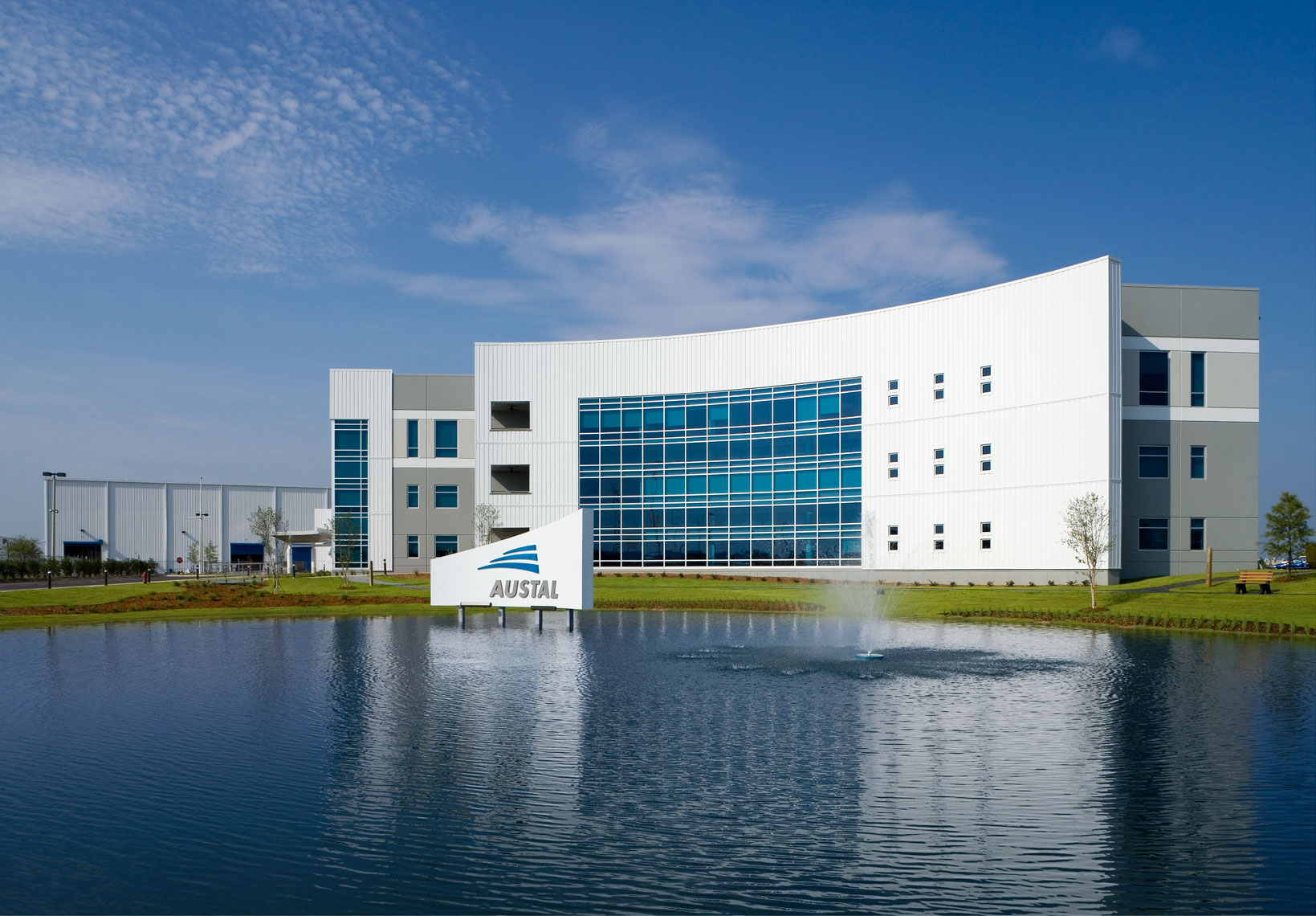 Austal USA Office Complex reflecting pool in Mobile, Alabama