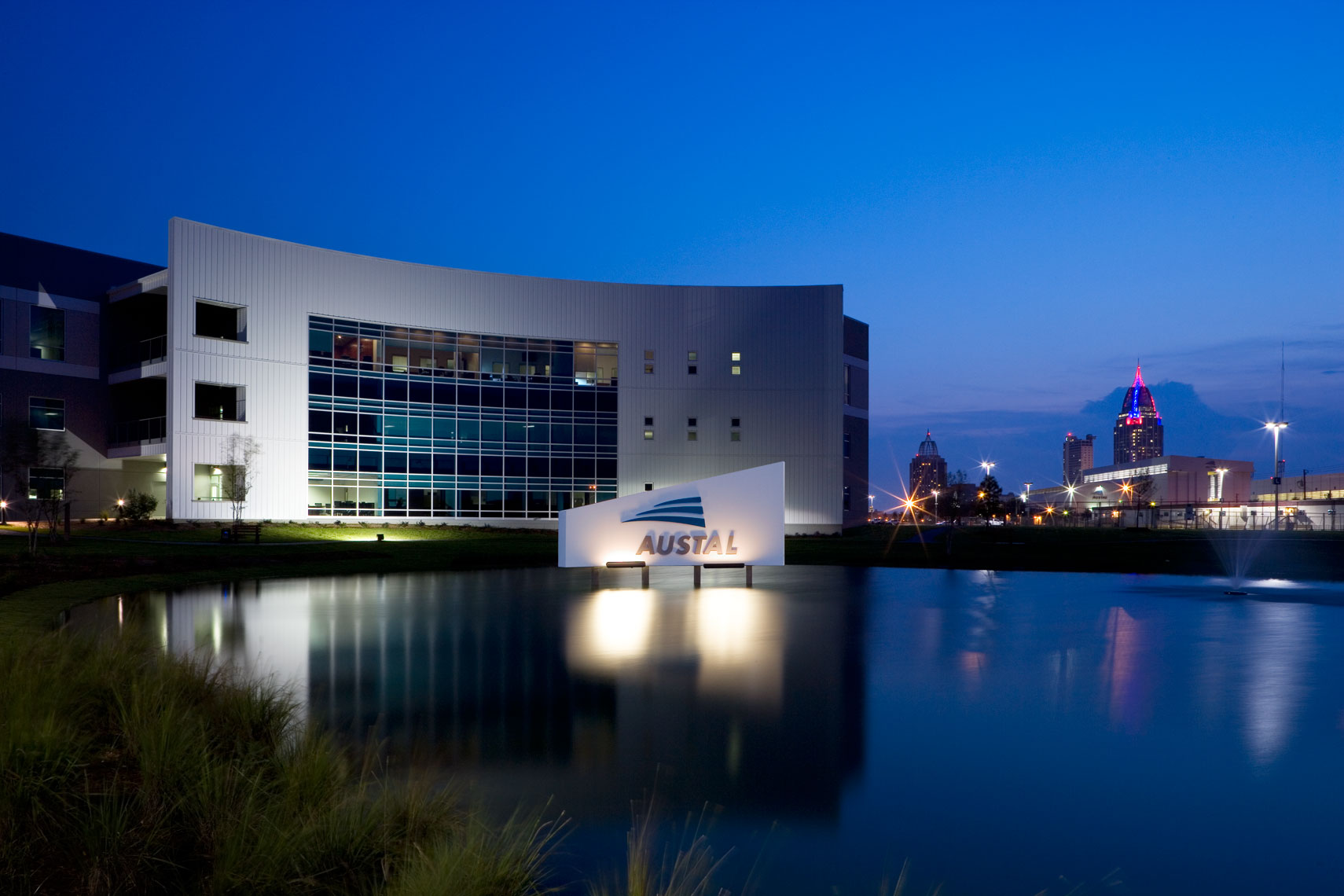 Austal USA Office Complex at twilight in Mobile, Alabama