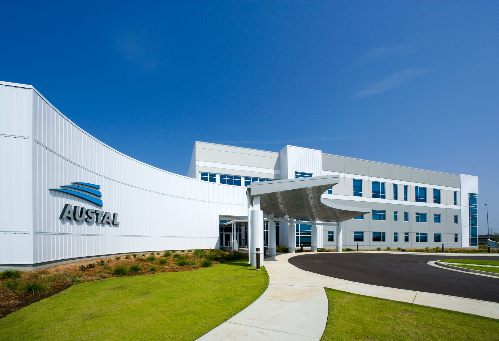 Closeup of Austal USA Office Complex entrance in Mobile, Alabama