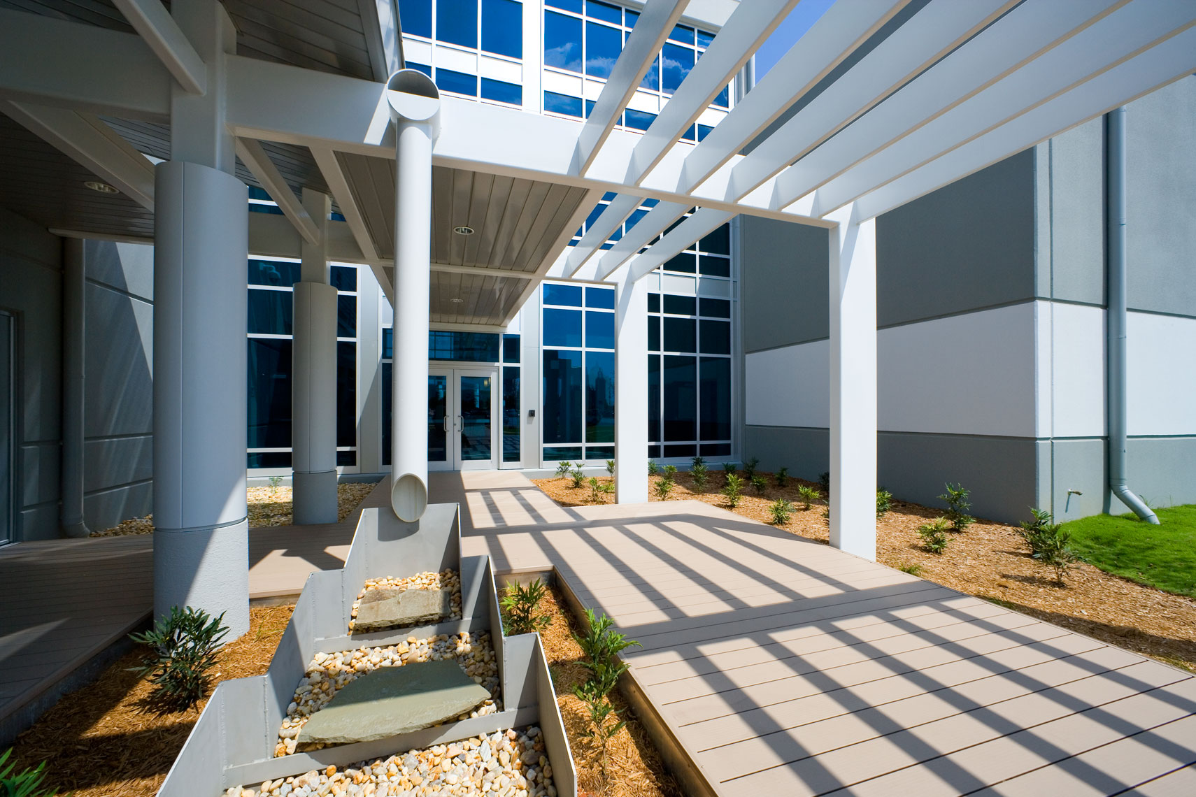 LEED details and sunlit entry at Austal USA