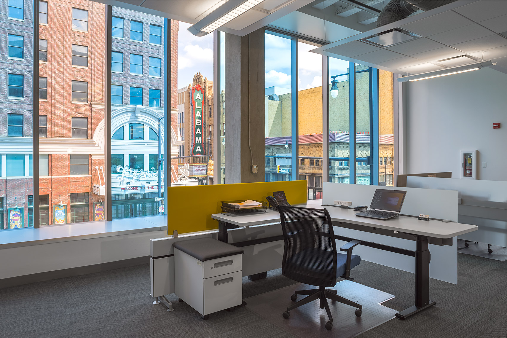 Workspace with city view at a Corporate Office Renovation, Birmingham, AL