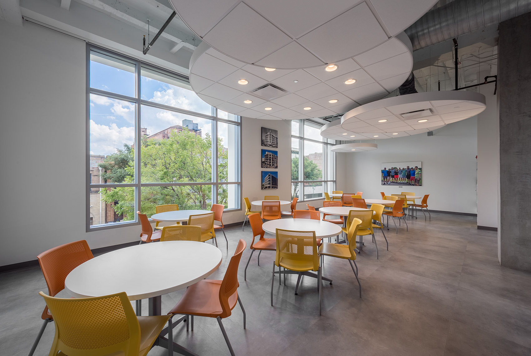 Staff dining area at renovated corporate office in Birmingham