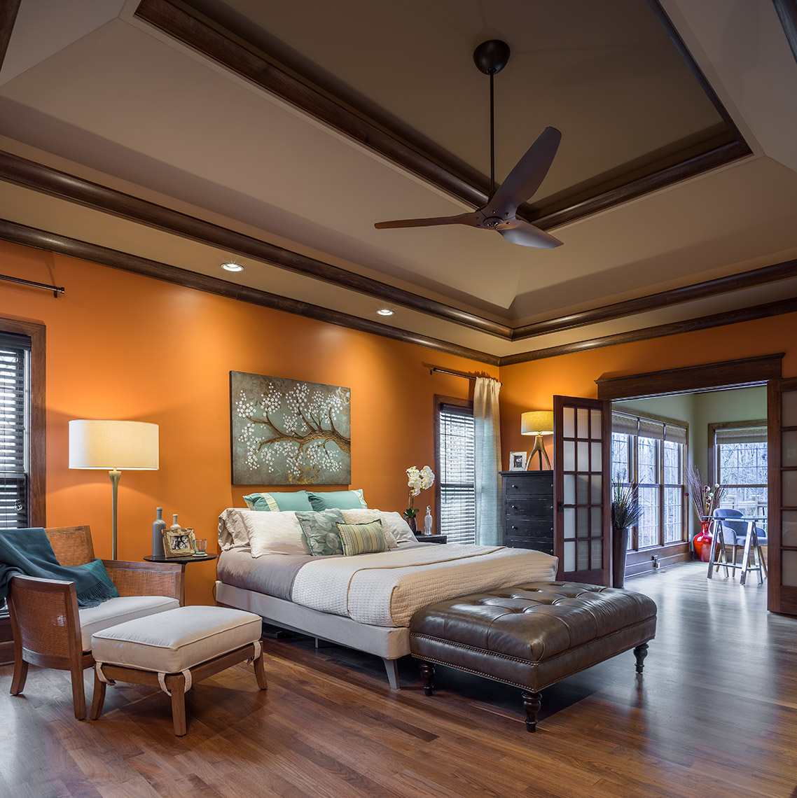 Master bedroom at Louisville, Kentucky residence with Haiku ceiling fan
