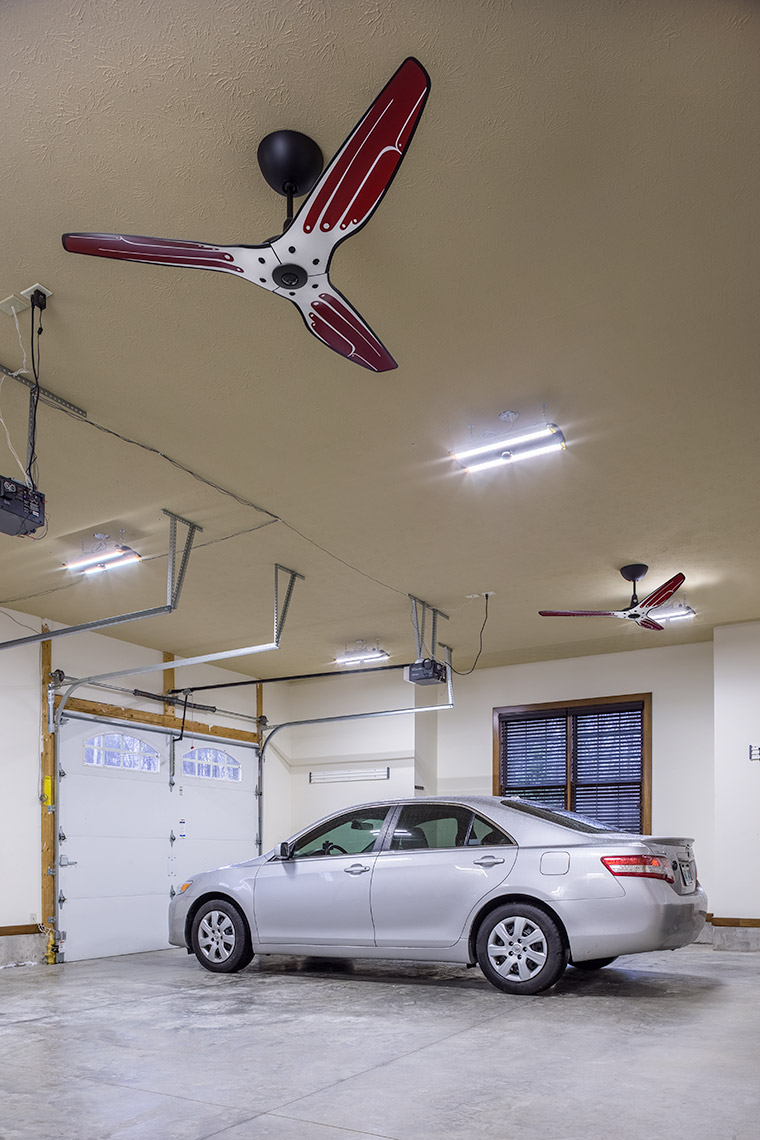 custom haiku fan in residence garage