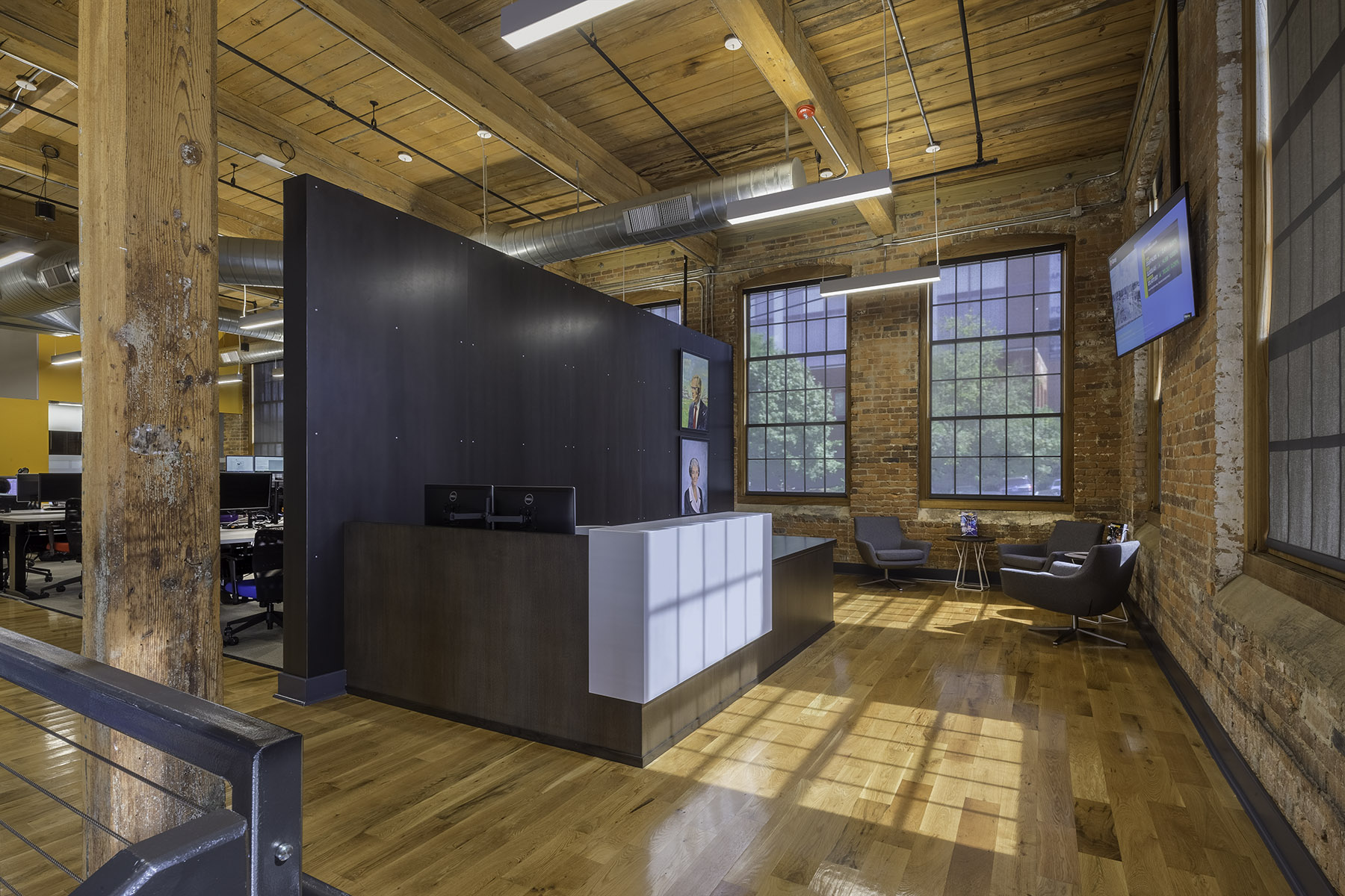 Renovated Corporate Office interior at Camden Cotton Mills in Charlotte