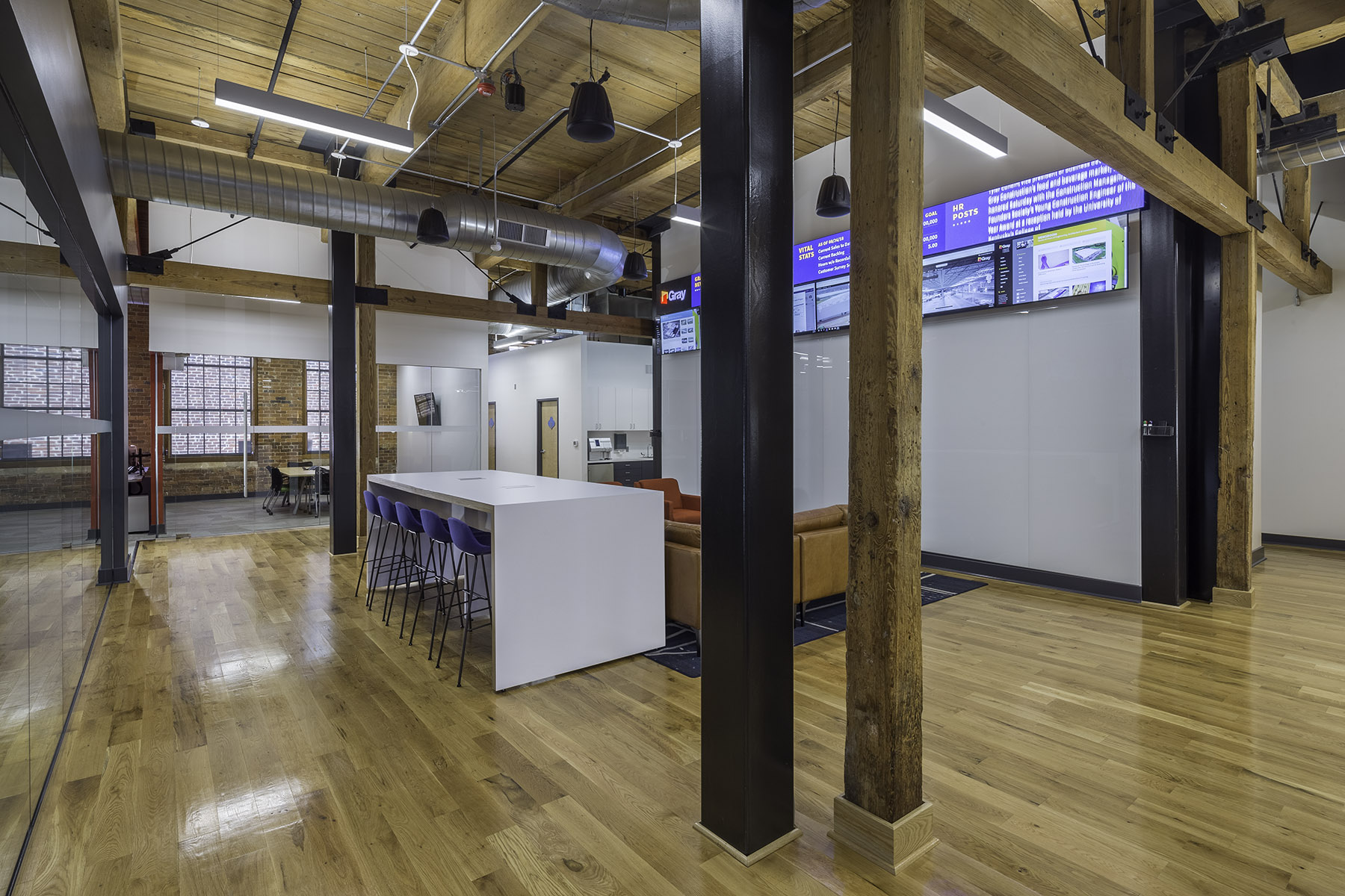 Open Office design at renovated Camden Cotton Mills in Charlotte