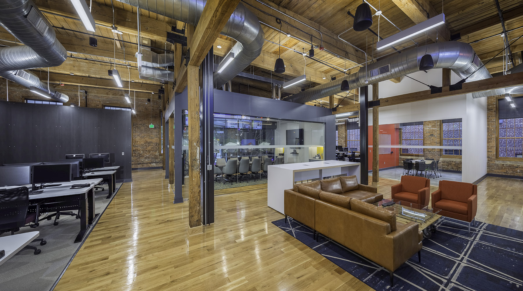 Mixed use open office design at renovated Camden Cotton Mills in Charlotte