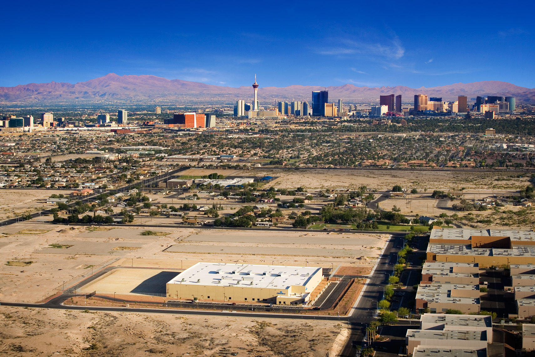 aerial view of las vegas industrial complex