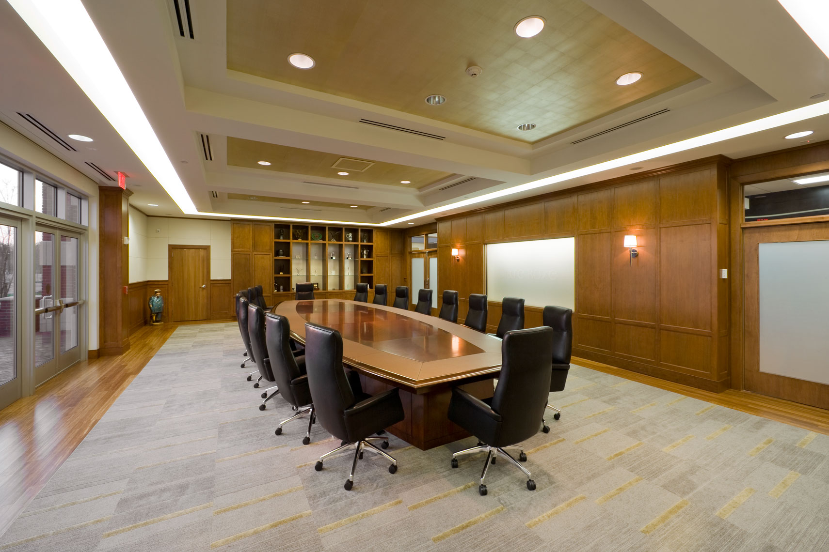 Large conference room with custom woodwork at Clare Rose