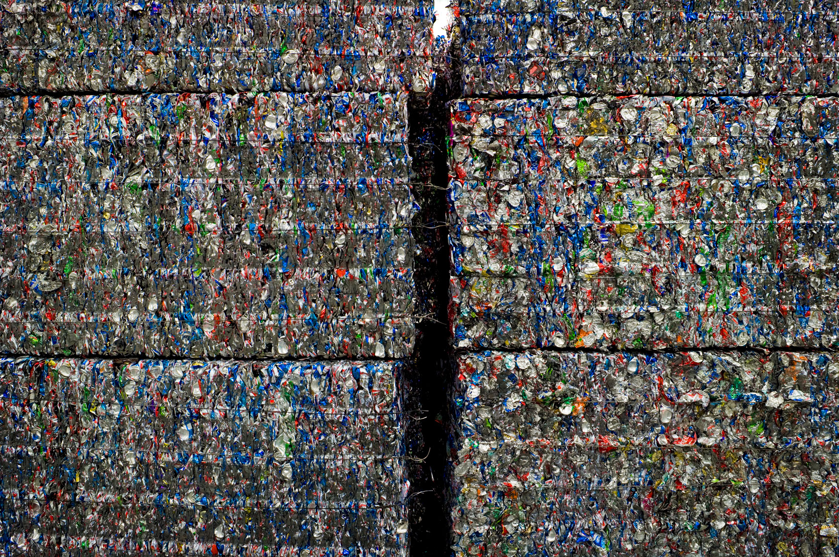 aluminum cans baled for recycling
