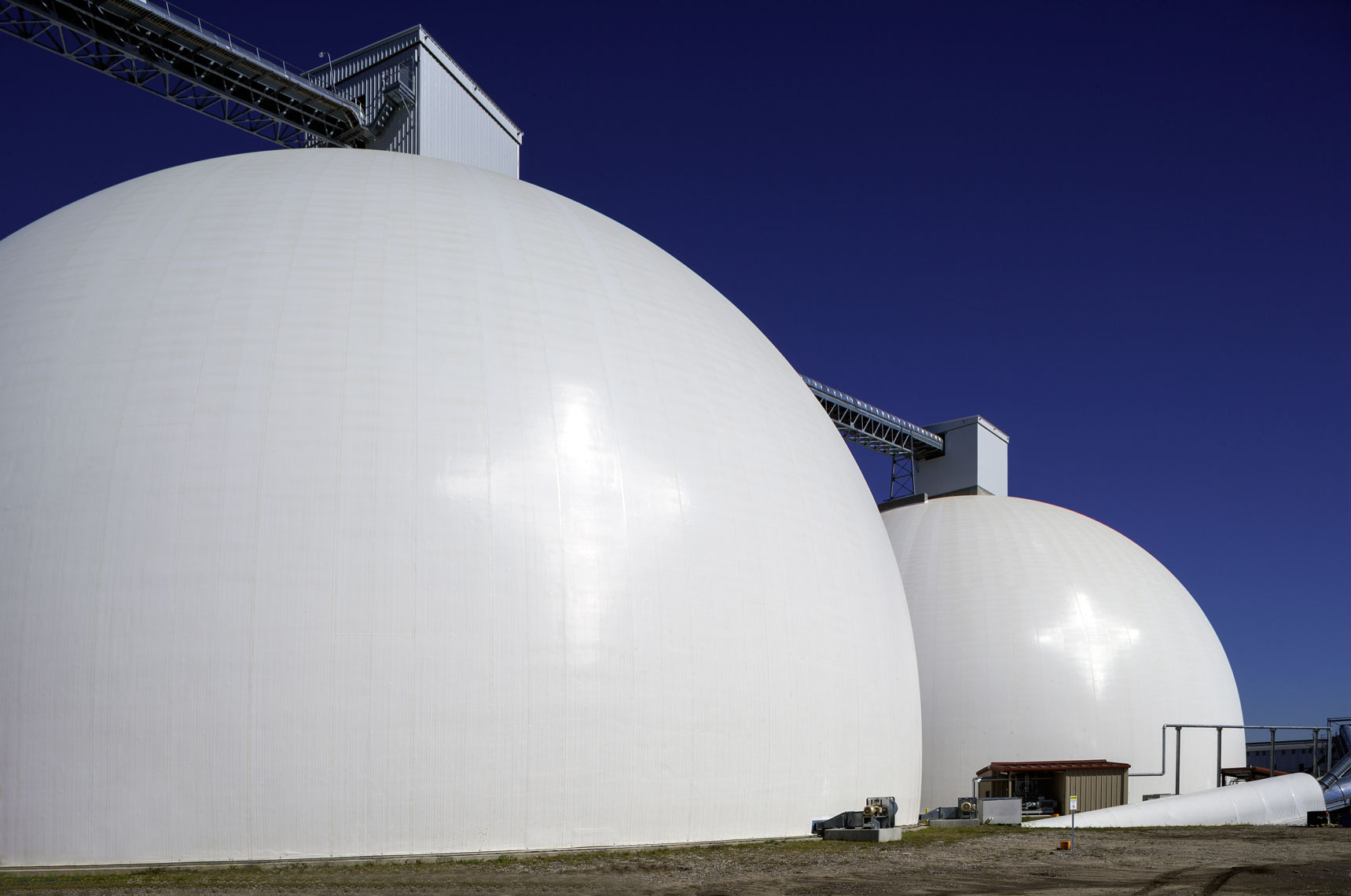 120-foot-tall domes at Drax Biomass for wood pellet storage
