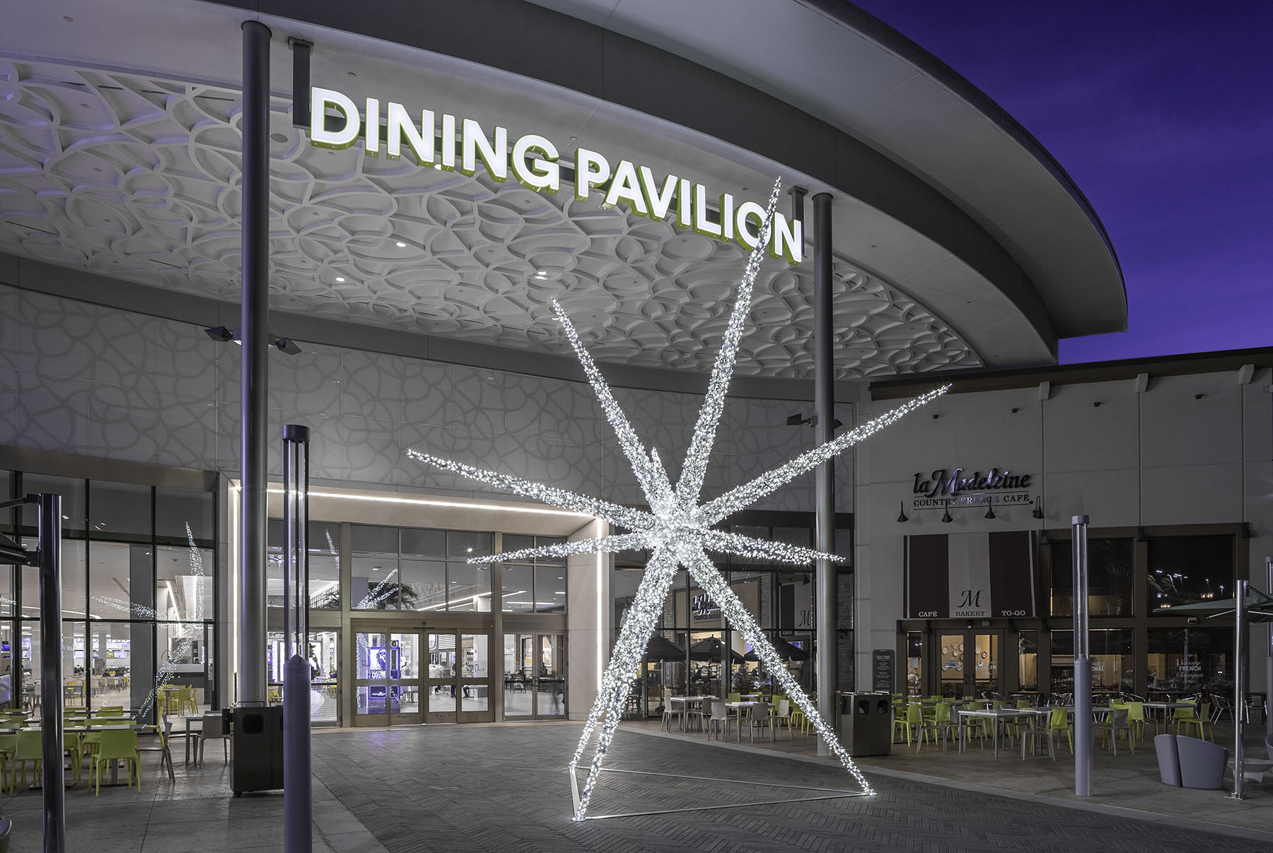 dining pavilion night view at florida mall