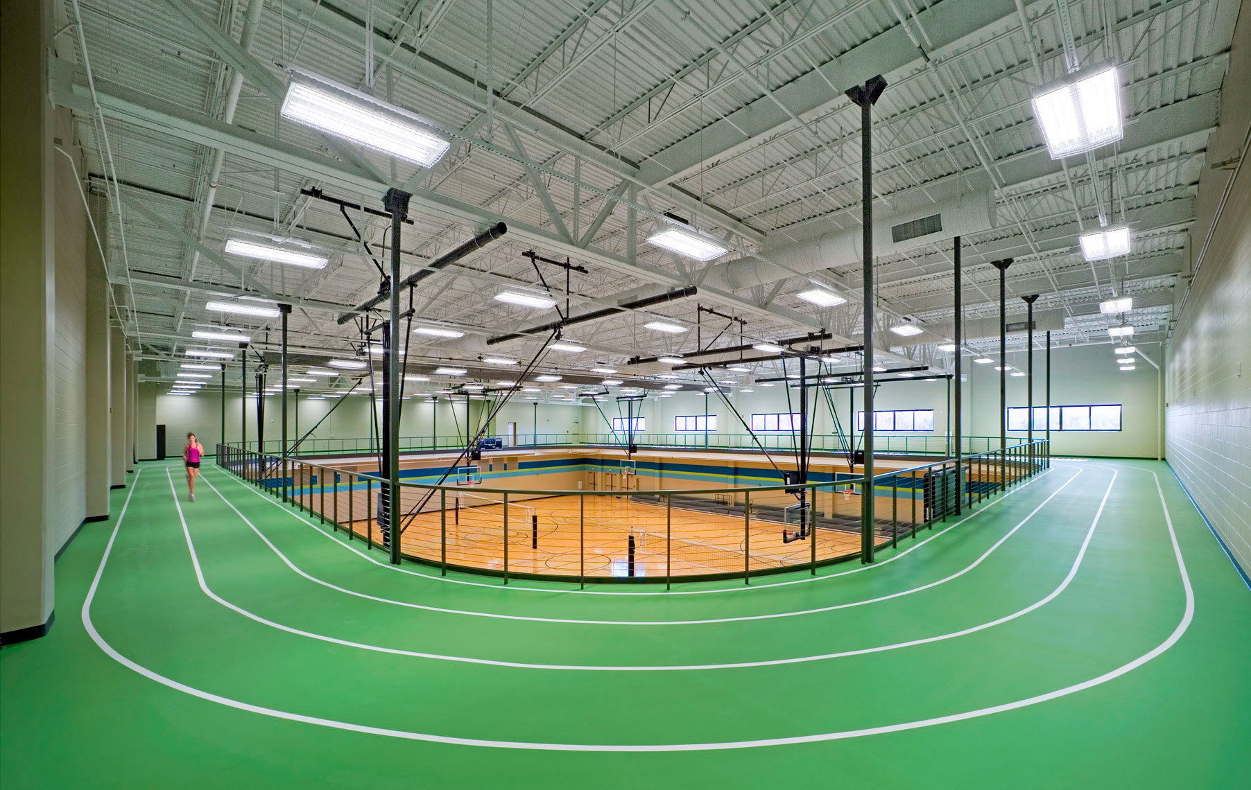 Elevated indoor track and gymnasium