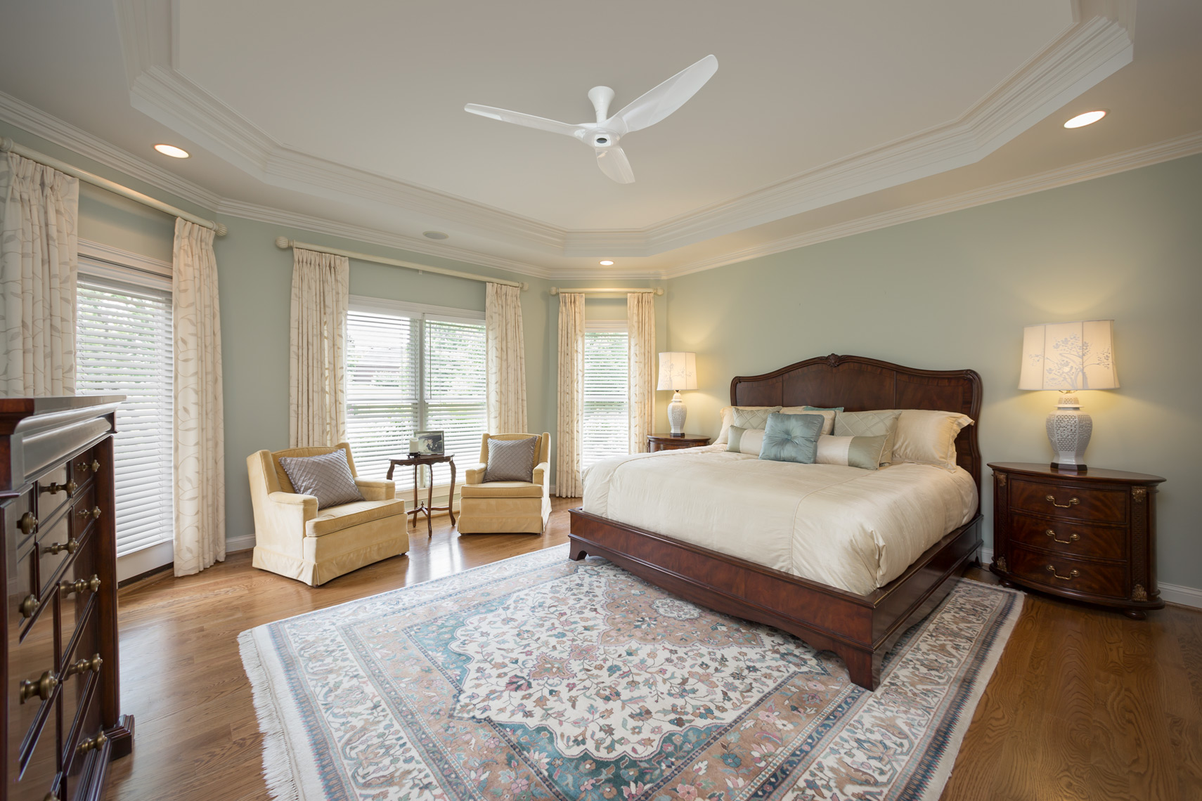 Traditional bedroom with ceiling fan