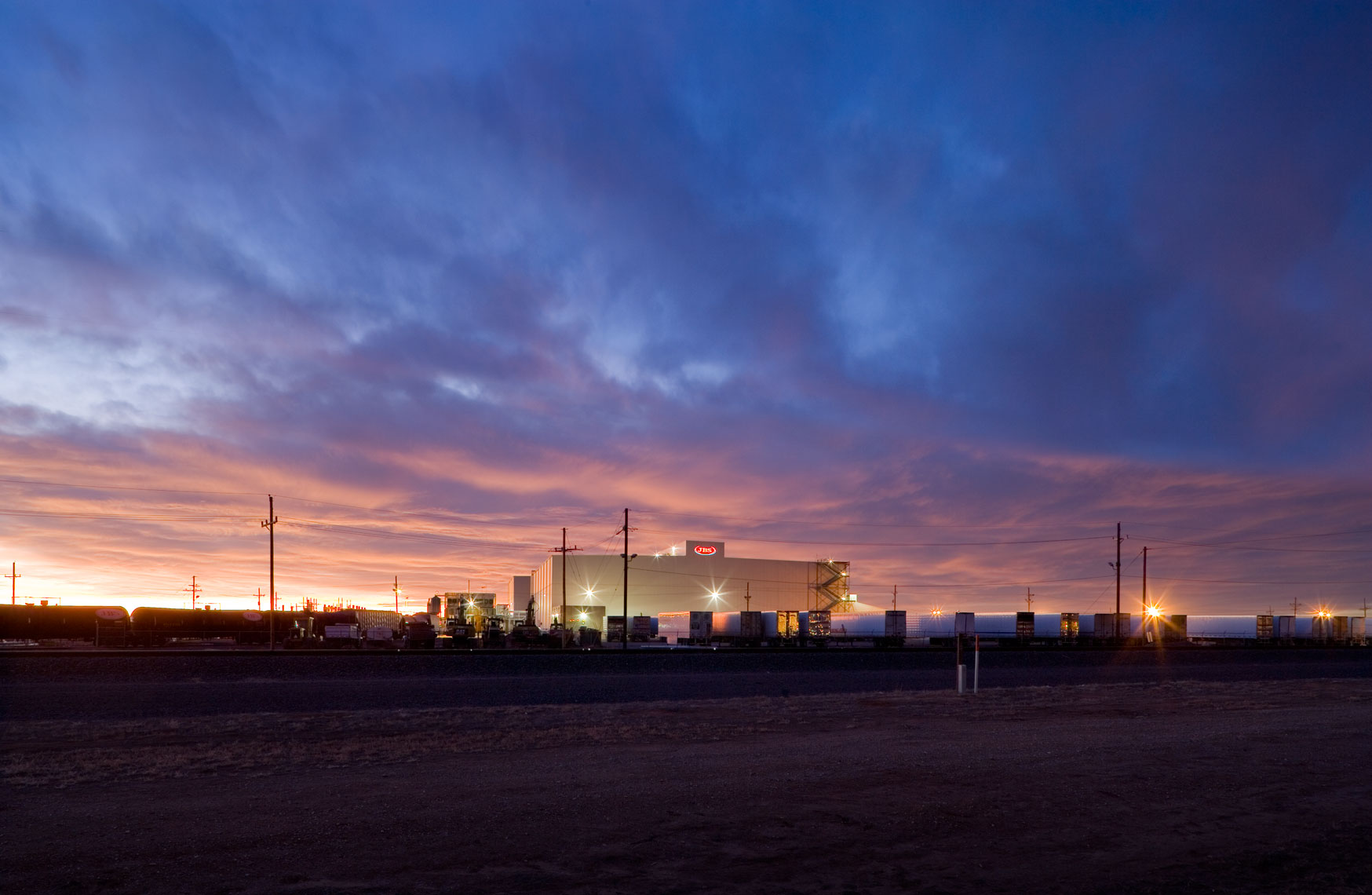 twilight at JBS USA beef processing facility in texas
