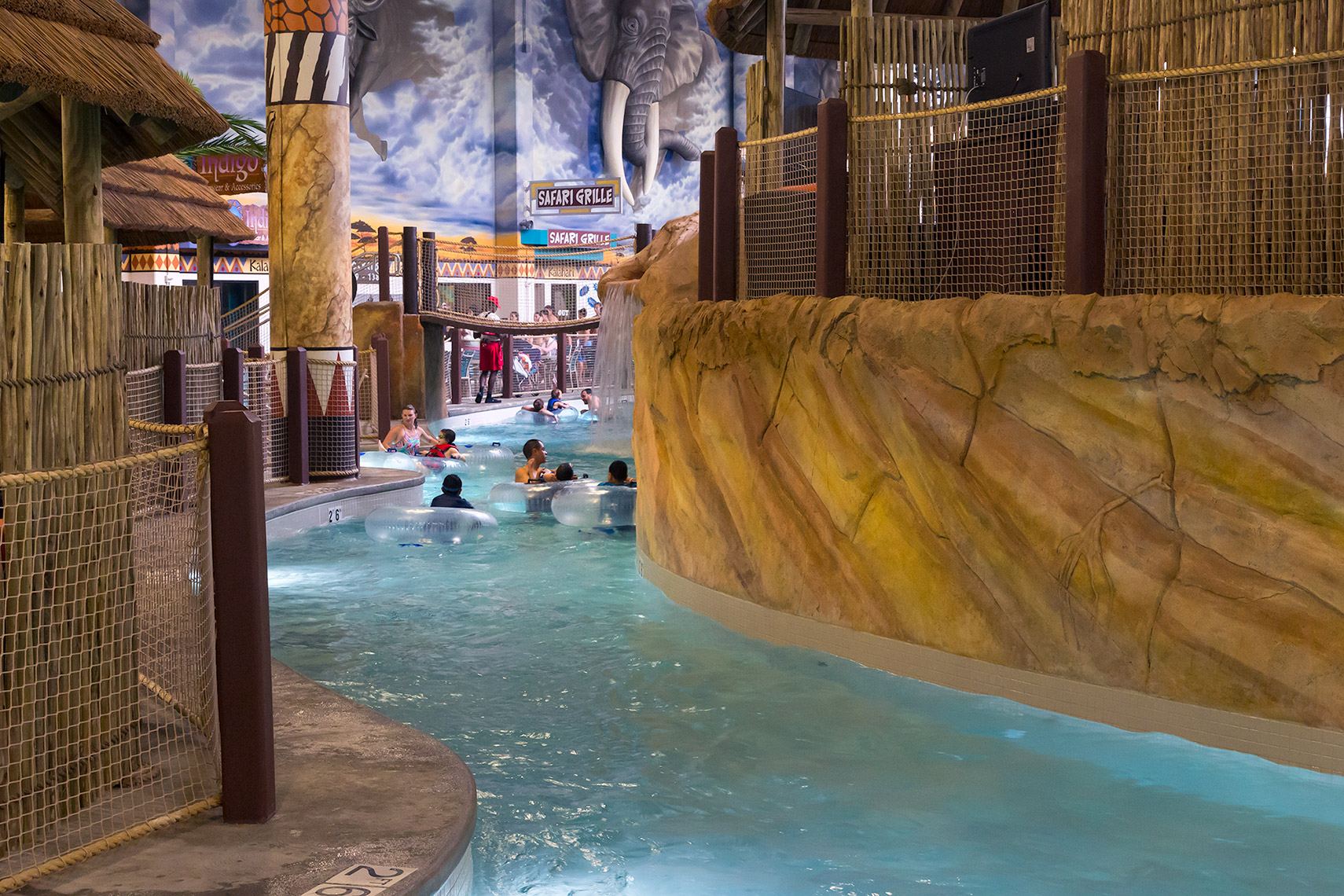 people floating on interior river at Kalahari Resorts