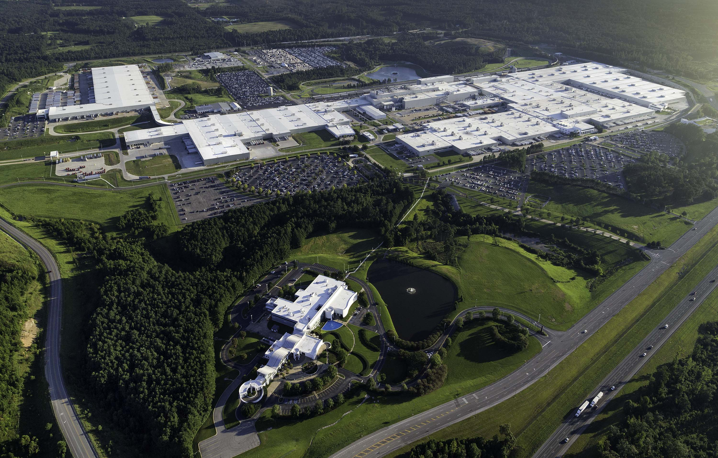 Aerial of Mercedes assembly campus in Vance, Alabama