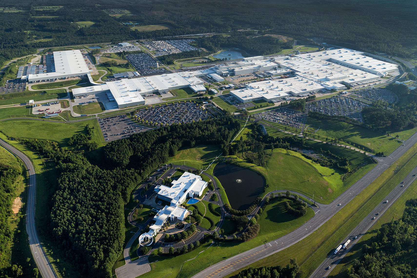 Aerial view of Mercedes assembly plant
