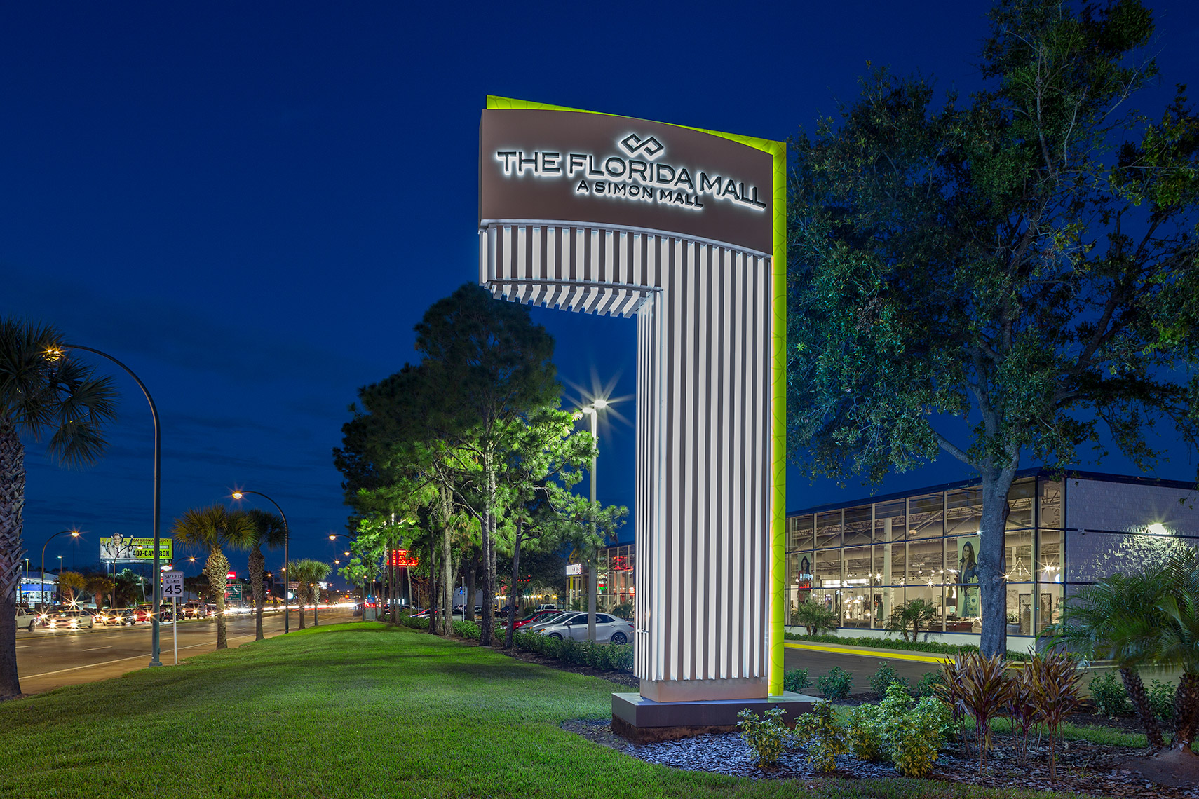 The Florida Mall main signage at night