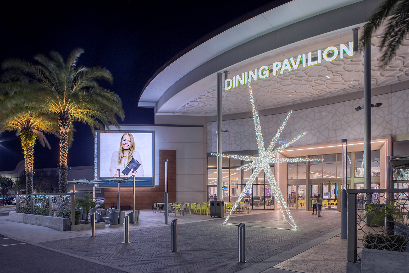 night exterior at florida mall dining pavilion