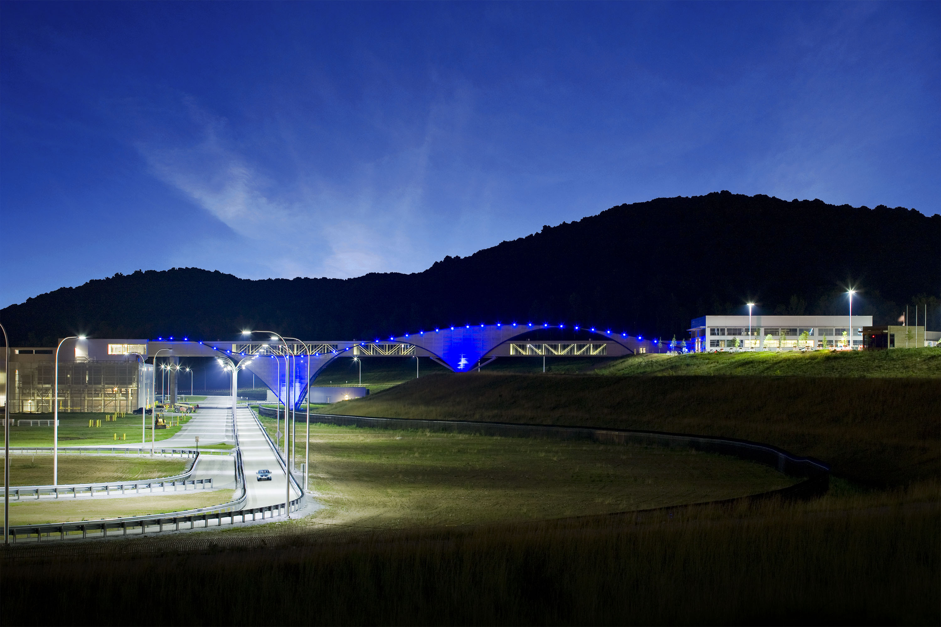 Volkswagen Chattanooga pedestrian bridge and Passat test track