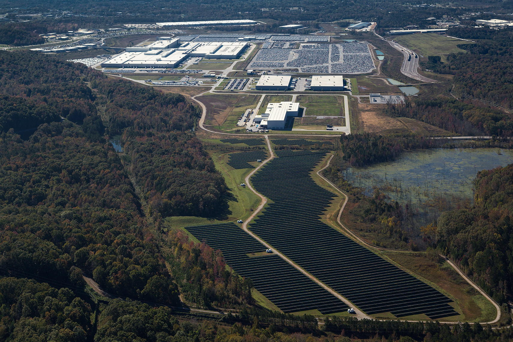 solar panel farm aerial of Volkswagen Assembly