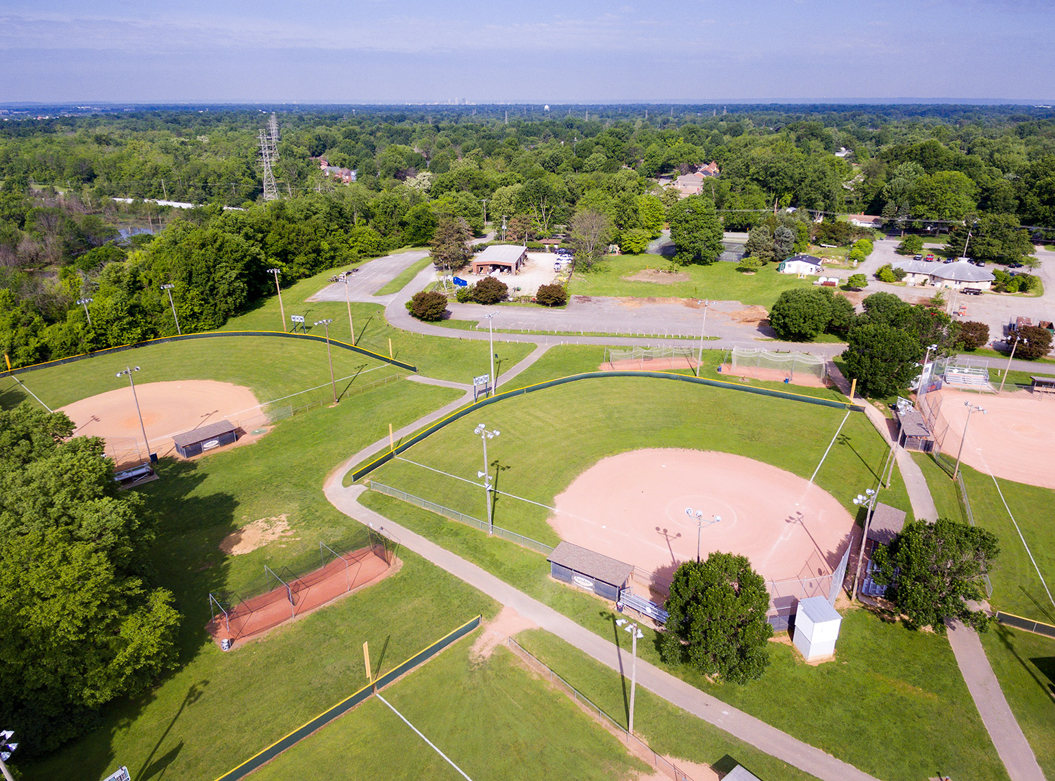 Urban recreational park aerial view in Louisville with ball fields