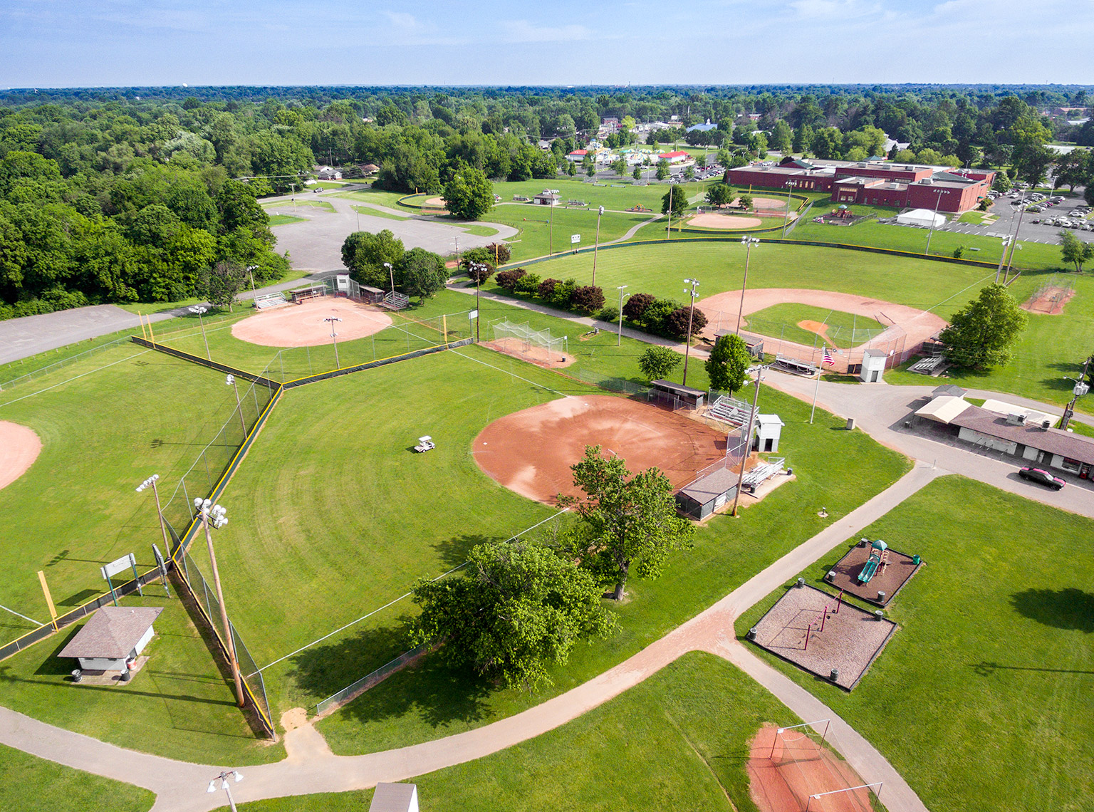 Urban recreational park aerial view 2 in Louisville with ball fields