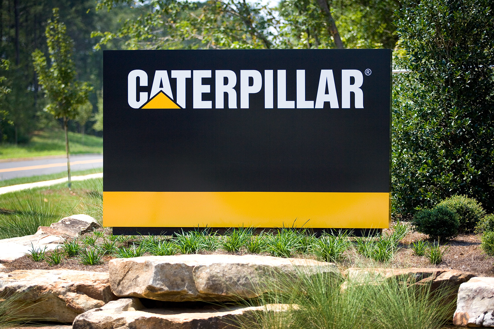 entrance monument sign at caterpillar plant in Athens Georgia