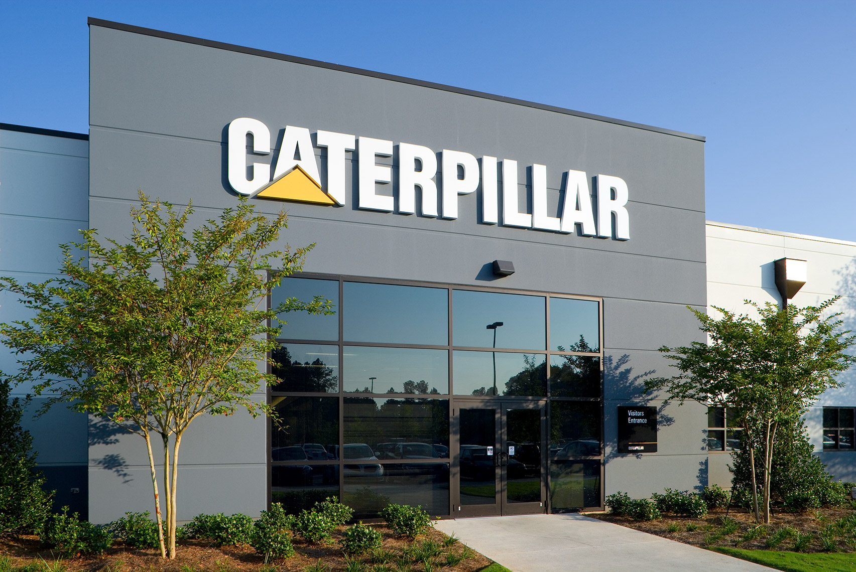 Main entrance and signage at Caterpillar Manufacturing in Athens GA