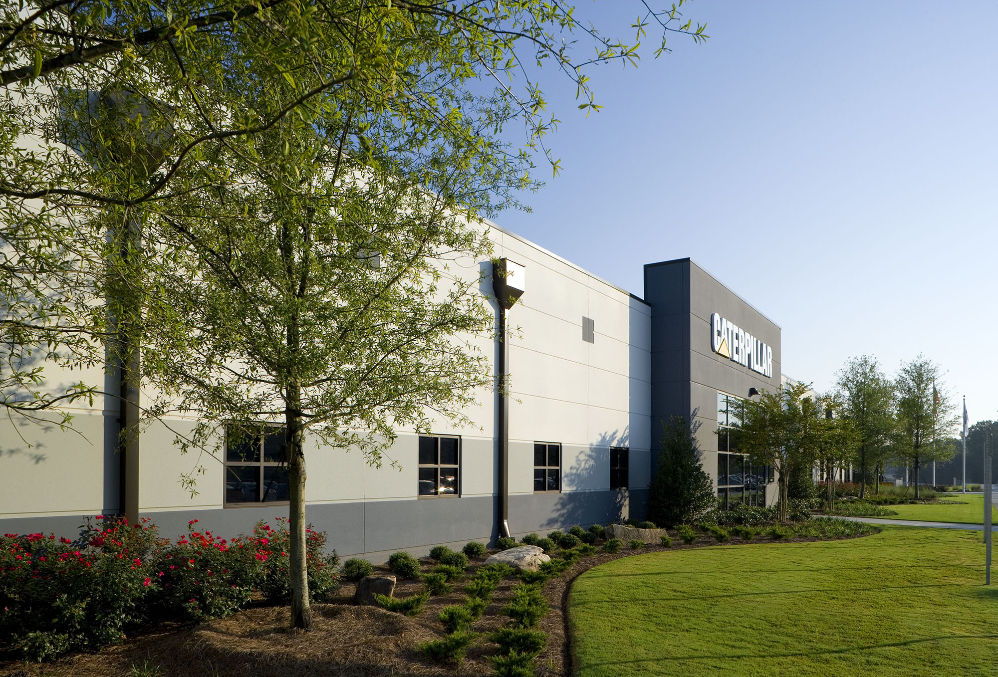 Landscape design and entrance to Caterpillar Manufacturing facility