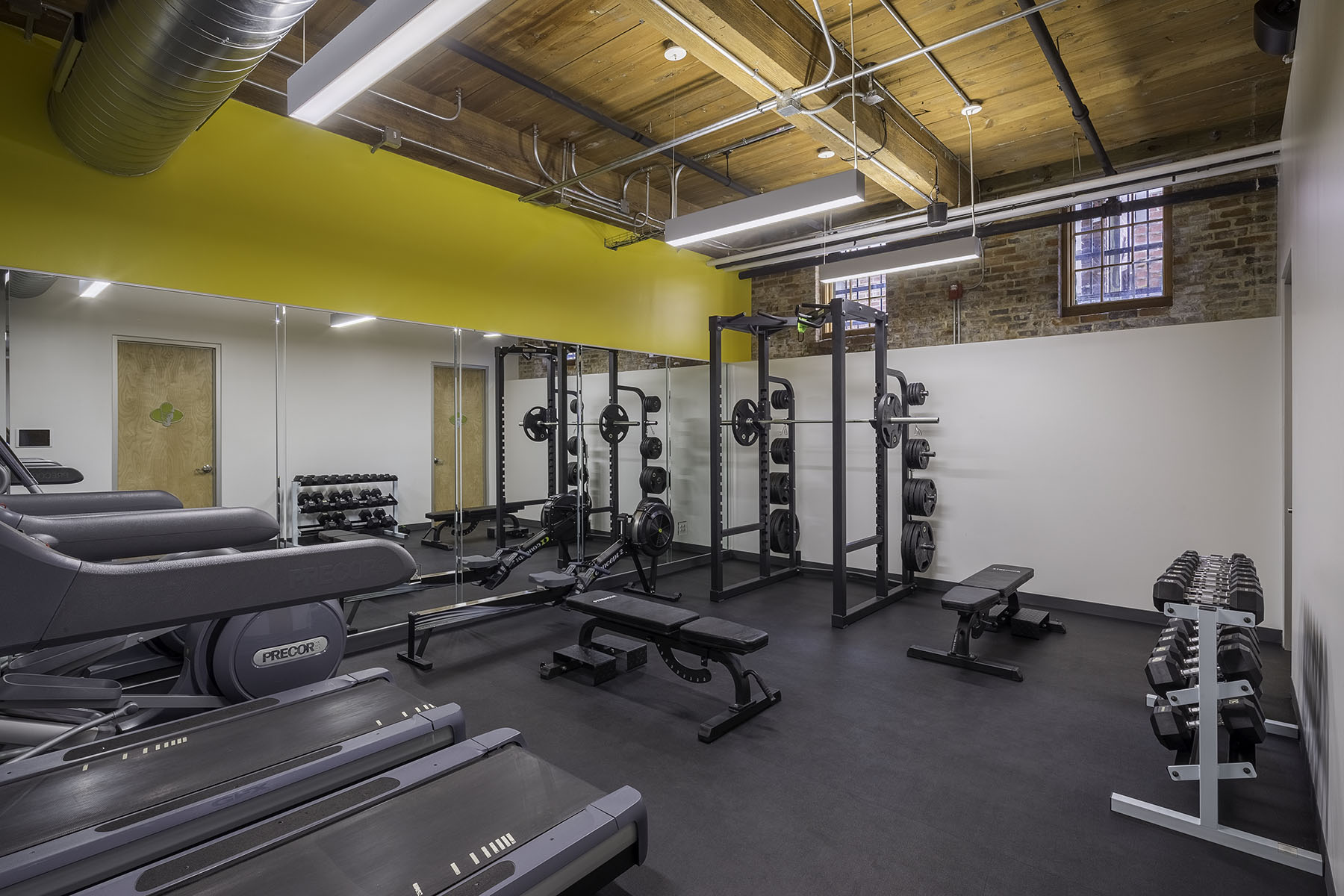 fitness room at office renovation in Camden Mills