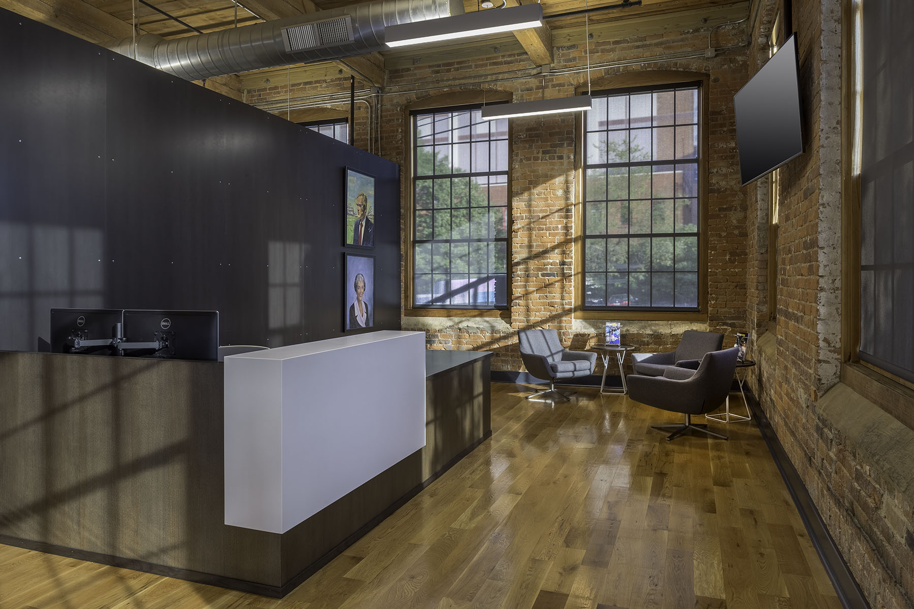 Corporate office reception area at Camden Cotton Mills in Charlotte