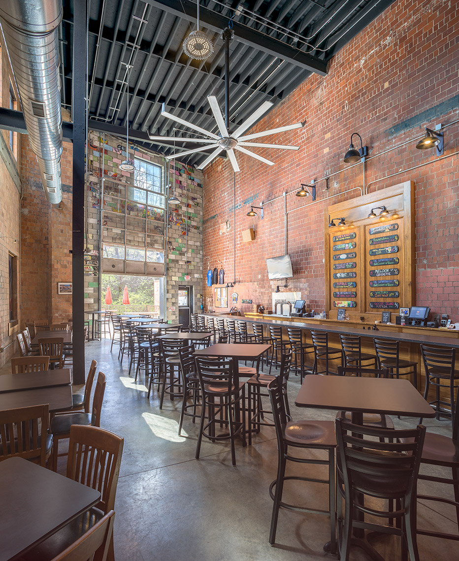 brewery tap room in renovated industrial space