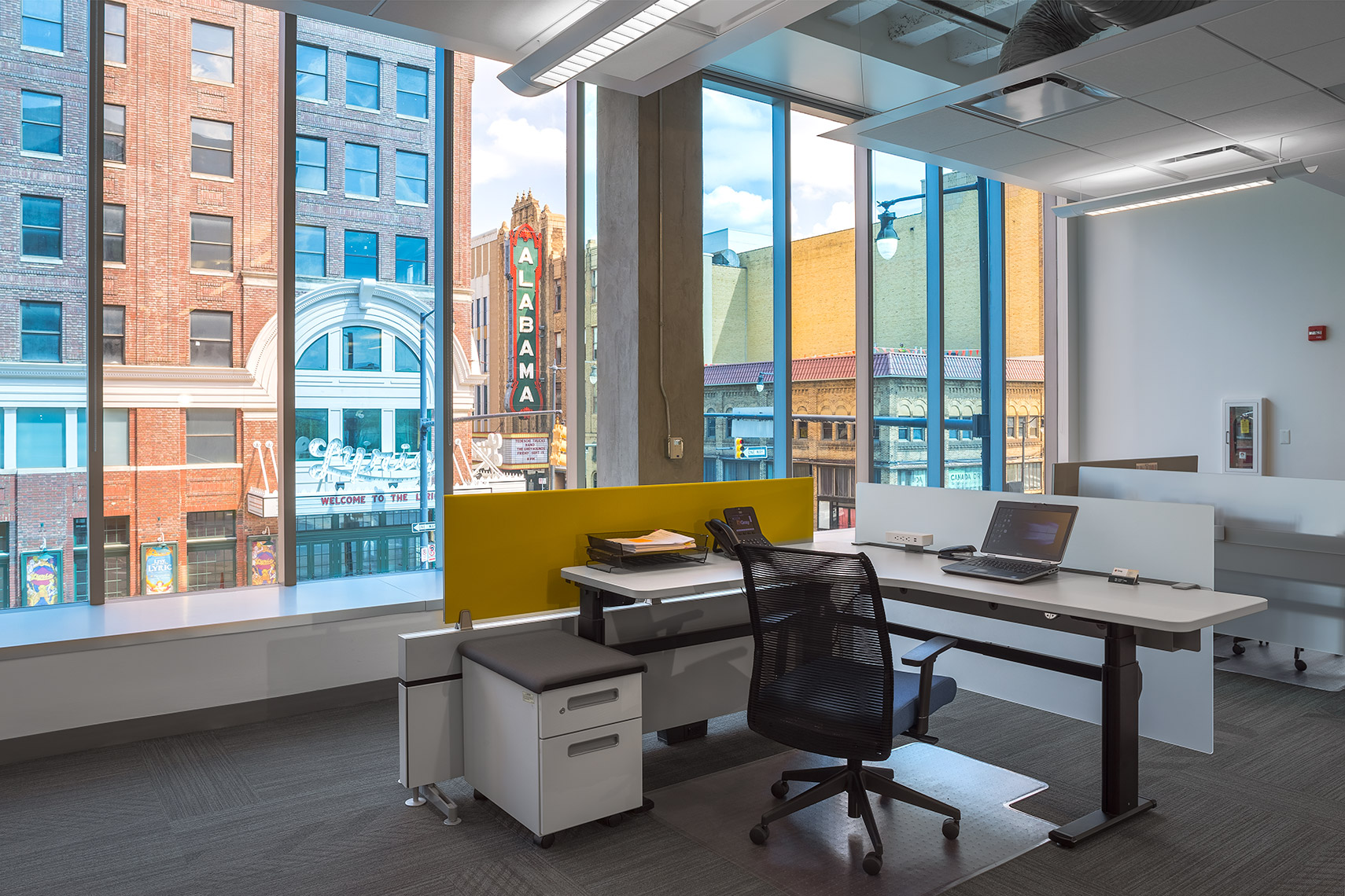 desk area with view of birmingham