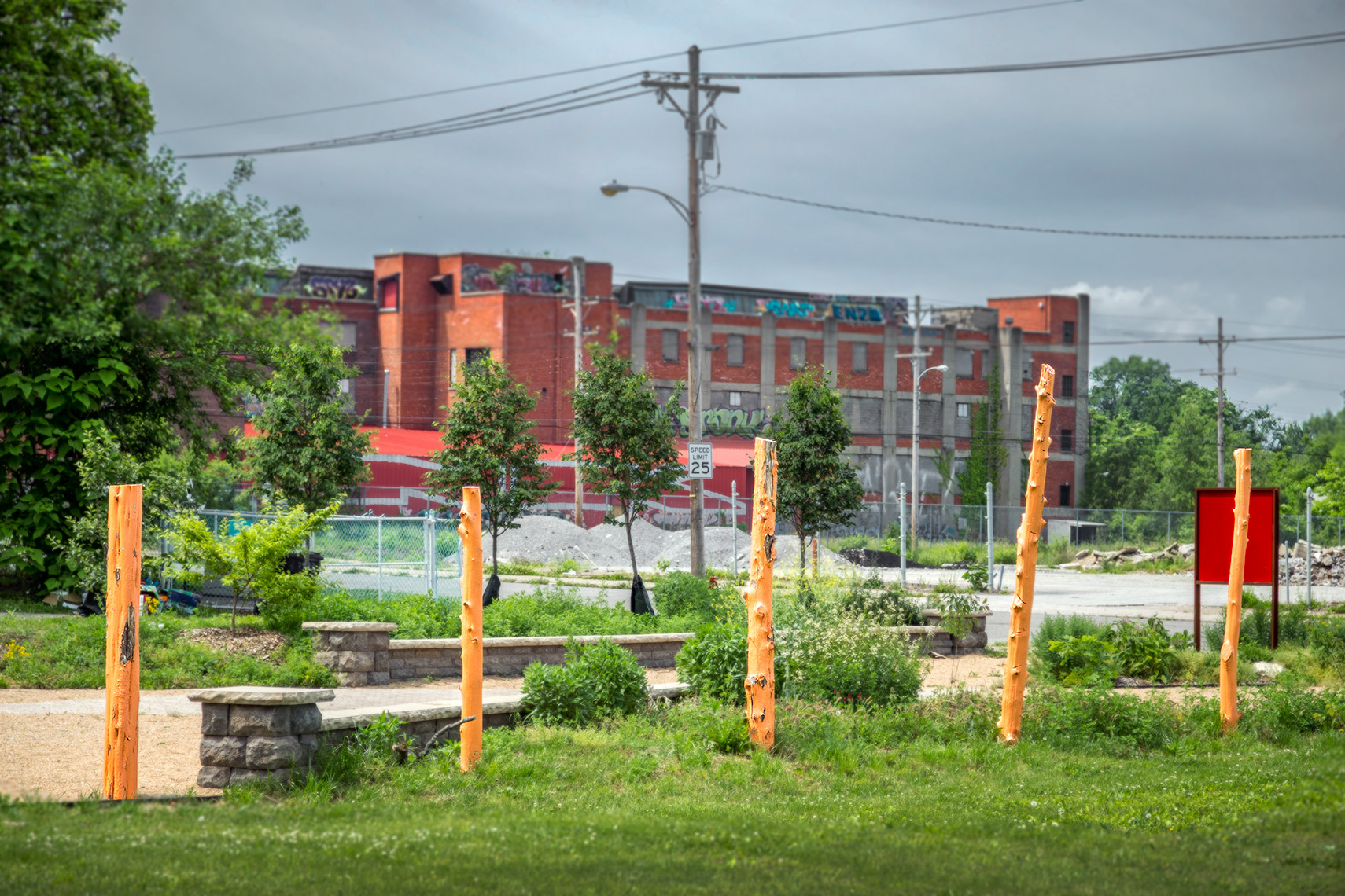 garden plots and design elements at urban park vacant lot