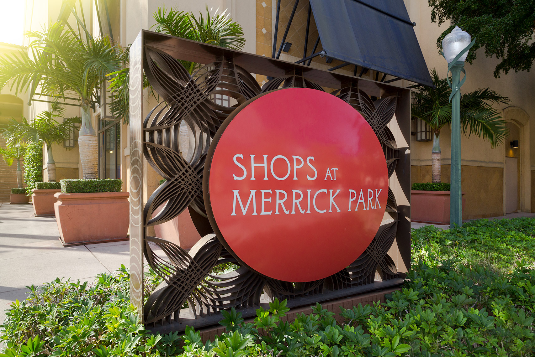 Sunset and main signage at the Shops at Merrick Park