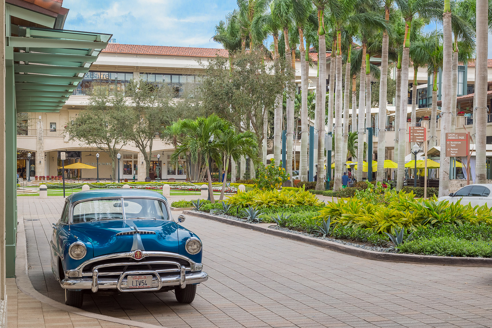 Vintage blue car at Shops at Merrick Park