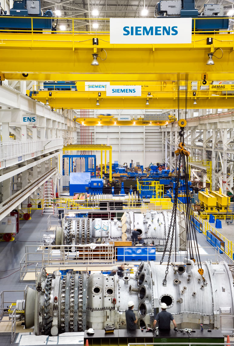 crane operation at Siemens Gas Turbine Manufacturing