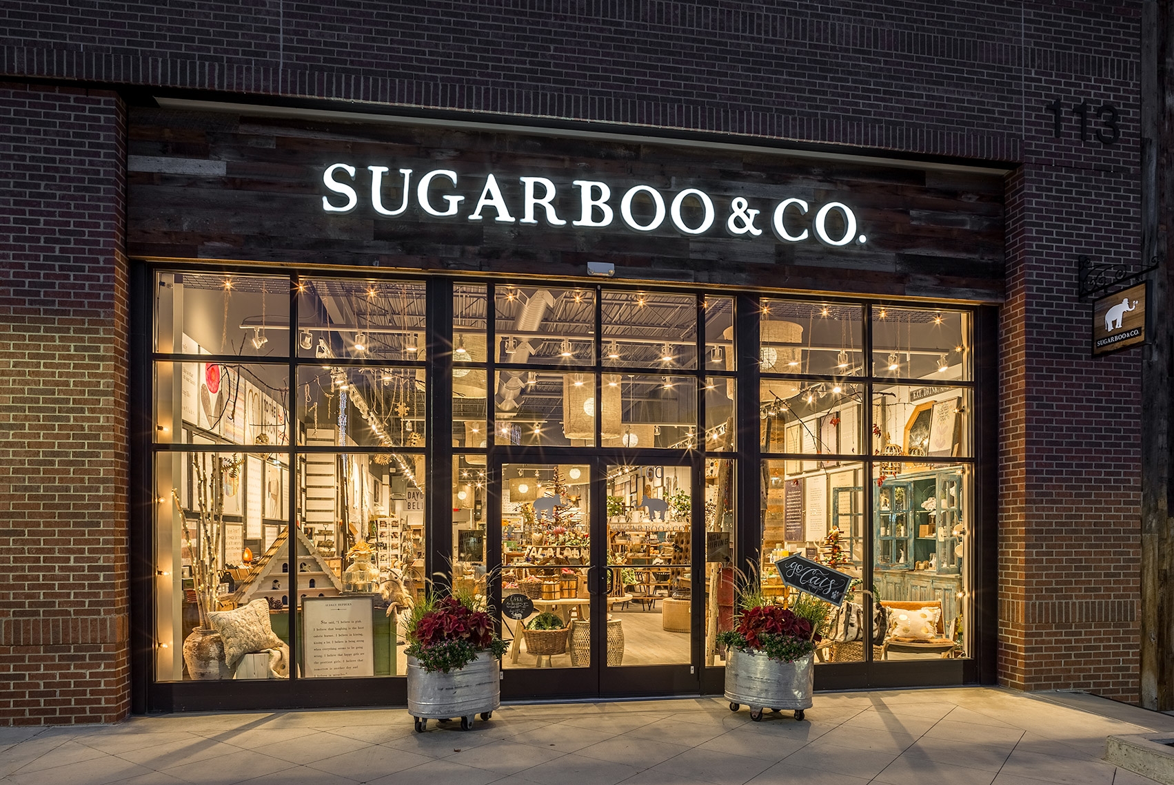 sugarboo & co signage at night