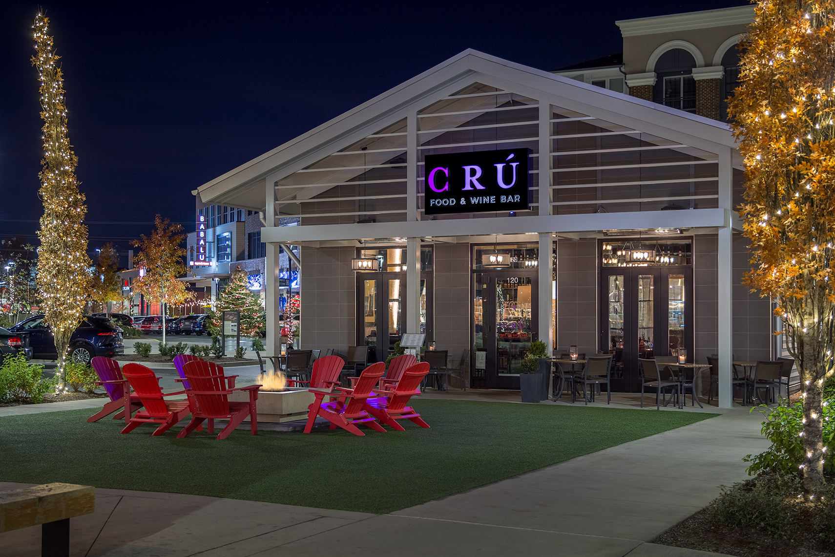 CRU wine bar at night from right