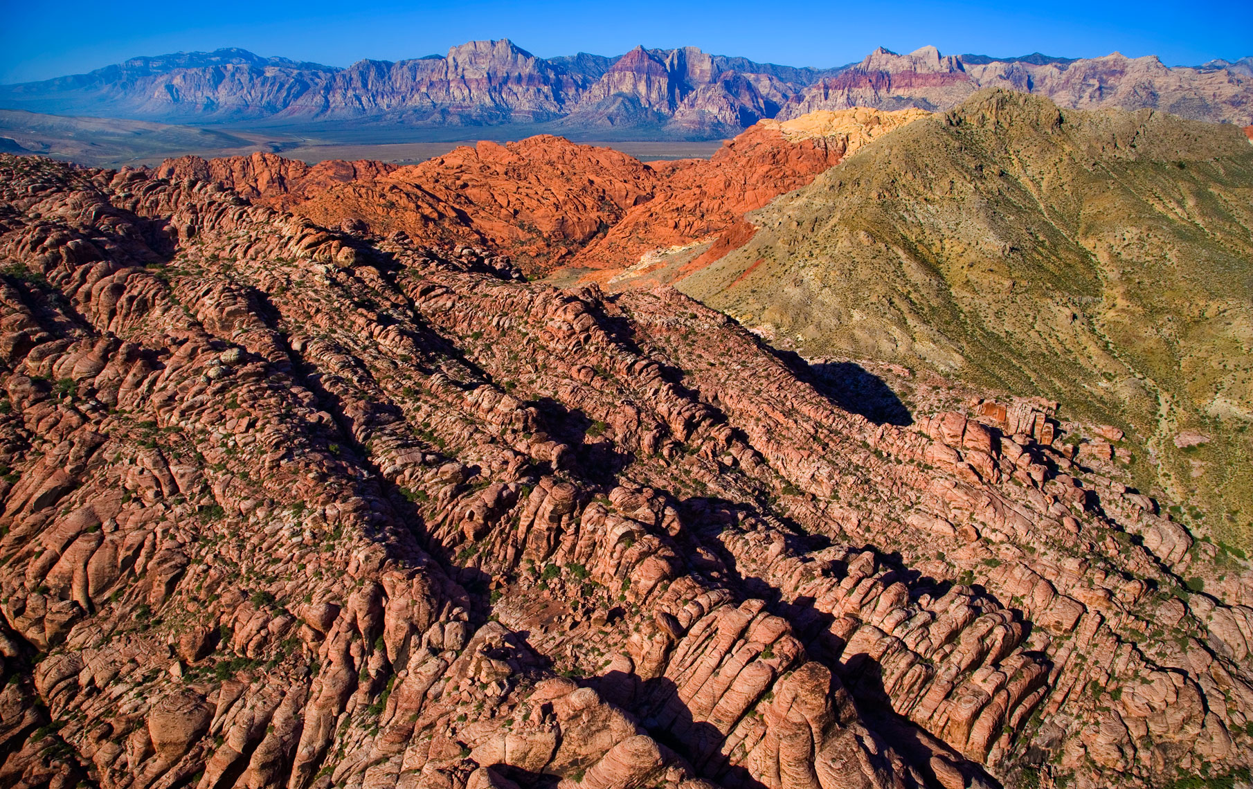 Aerial of Red Rock Canyon State Park with spectacular rock formations