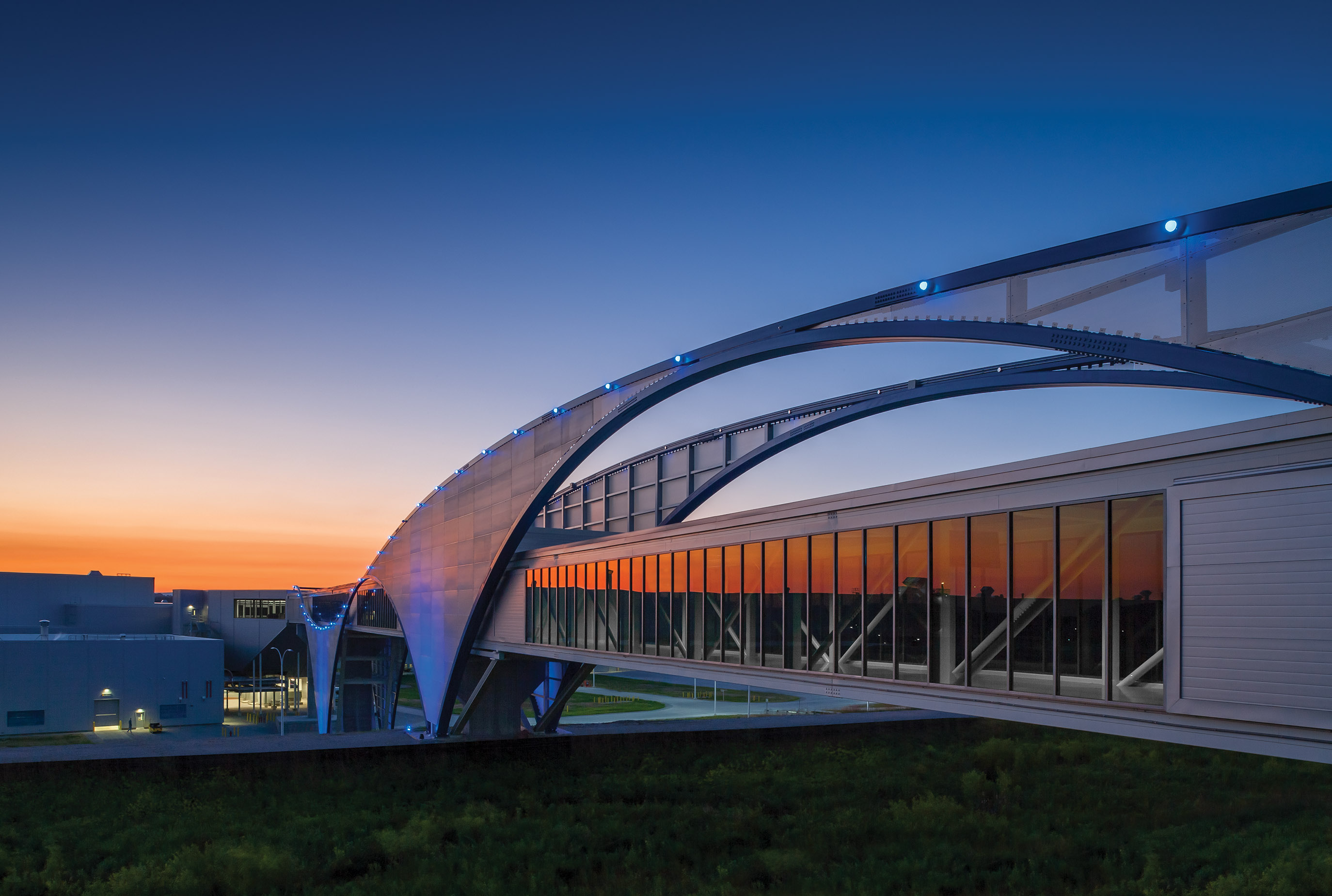 Twilight at Volkswagen pedestrian bridge in Chattanooga